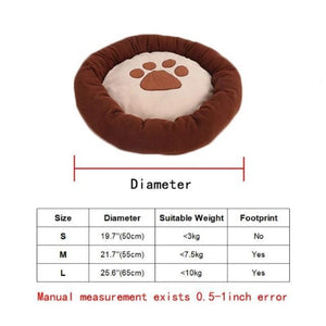 Round, Waterproof Doggy Bed With Pawprint Size Guide