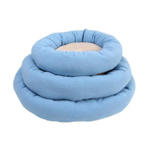 Round, Waterproof Doggy Bed With Pawprint, Blue Color