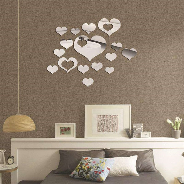 16PCS Heart-Shaped Mirror Wall Stickers