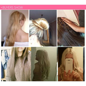 Long Straight Hair Wig Piece 6-Piece Set (16 Clips)
