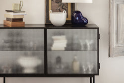 Haze Sideboard - Black Wired Glass