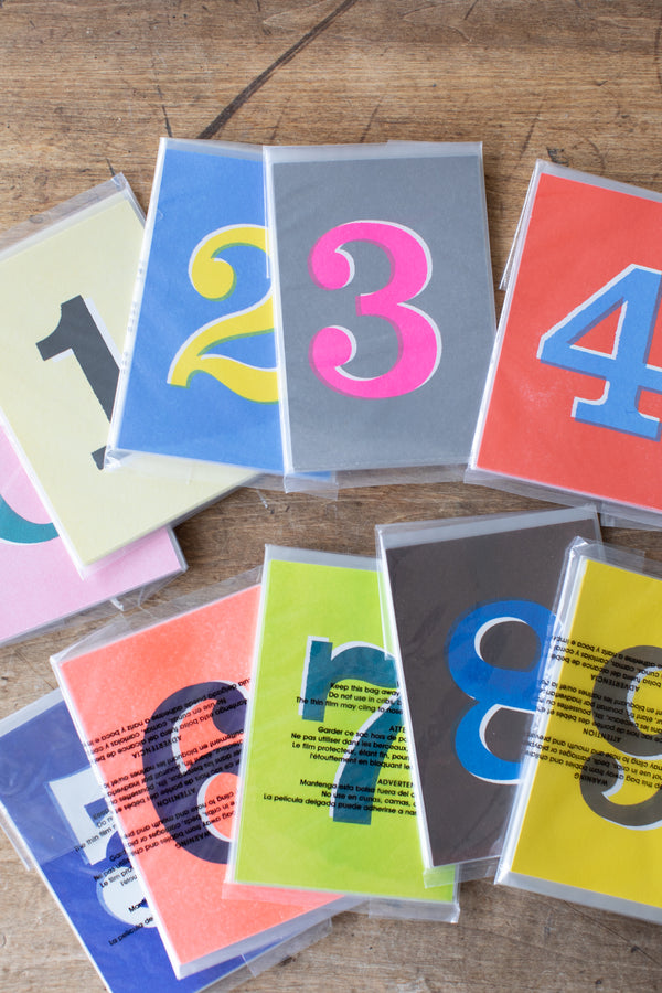 Risograph Printed Number Postcards