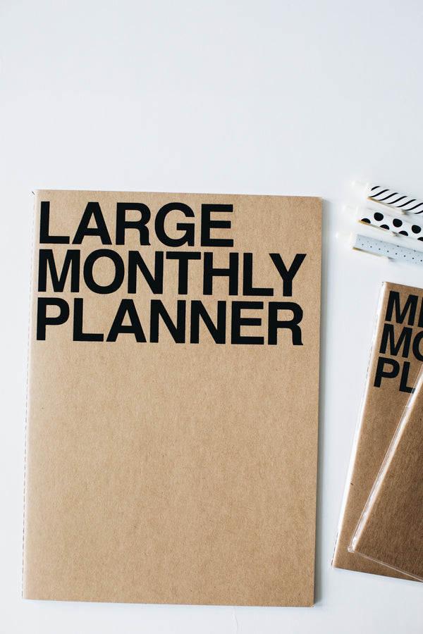 Large Monthly Planner - Kraft/Black