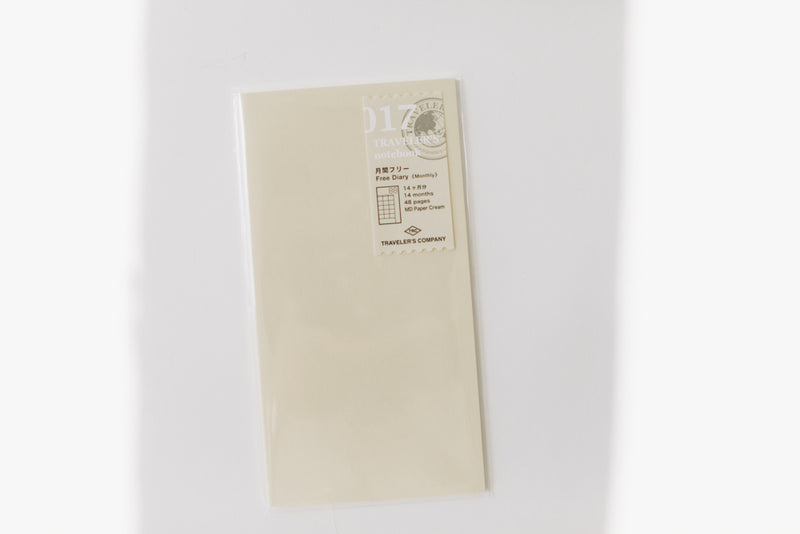 Traveler's Notebook Regular Size Refill - 017 Monthly Diary