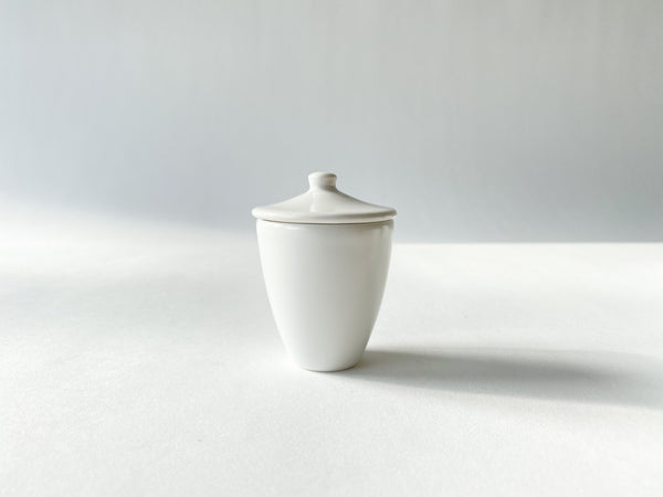 White Porcelain Long Cup Small with Lid