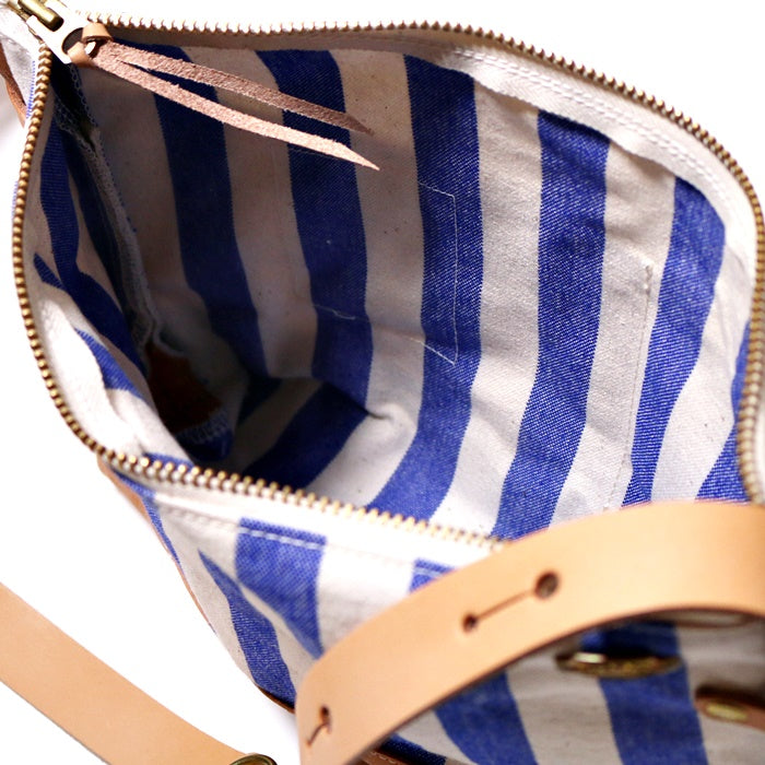 Striped Leather-bottom Shoulder Bag - Regular