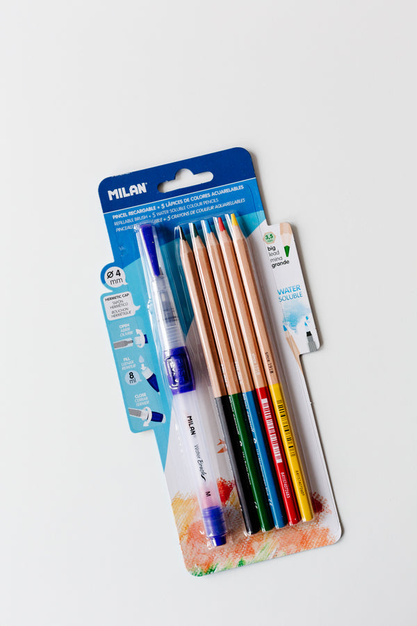 MILAN Water Brush and Watercolour Pencils