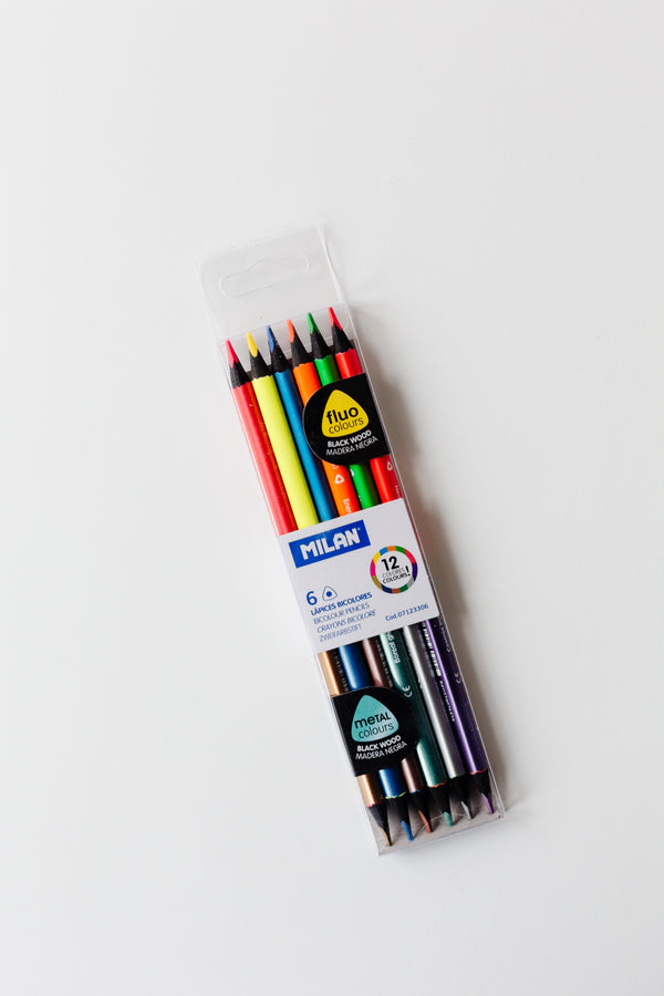 Milan Bicolour Fluo-metal Pencils