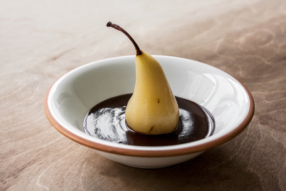 SPICED POACHED PEARS WITH WARM CHOCOLATE SAUCE by Ora Coren (Photo by Lee Coren)
