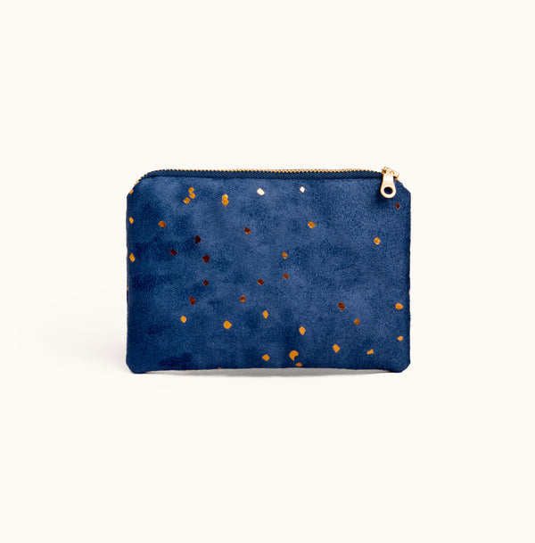 Vegan Suede Zipper Pouch, Small purse by Lee Coren