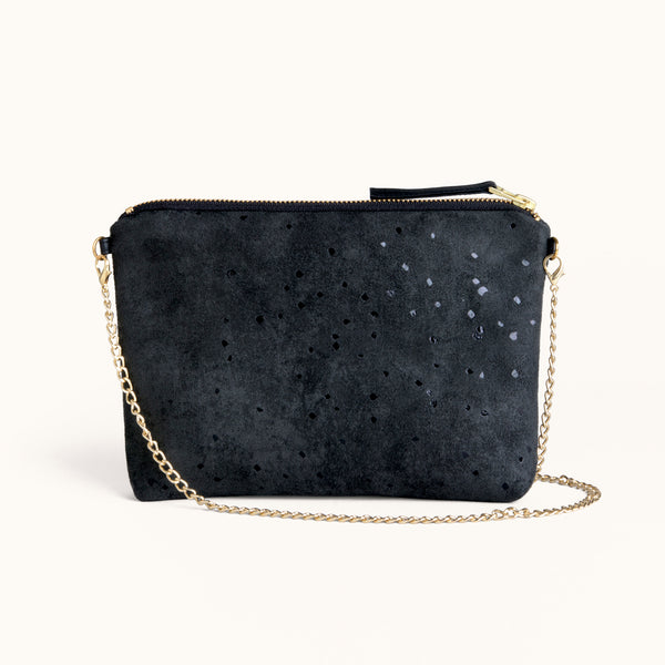 Lee Coren Confetti Black Dulce Clutch and Chain Strap