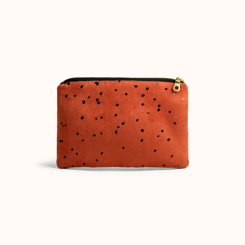 Vegan Suede Zipper Pouch, Small purse, Gift for her by Lee Coren