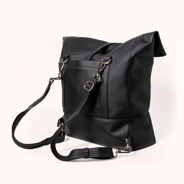 Black Vegan Leather Rolltop Backpack For Women by Lee Coren