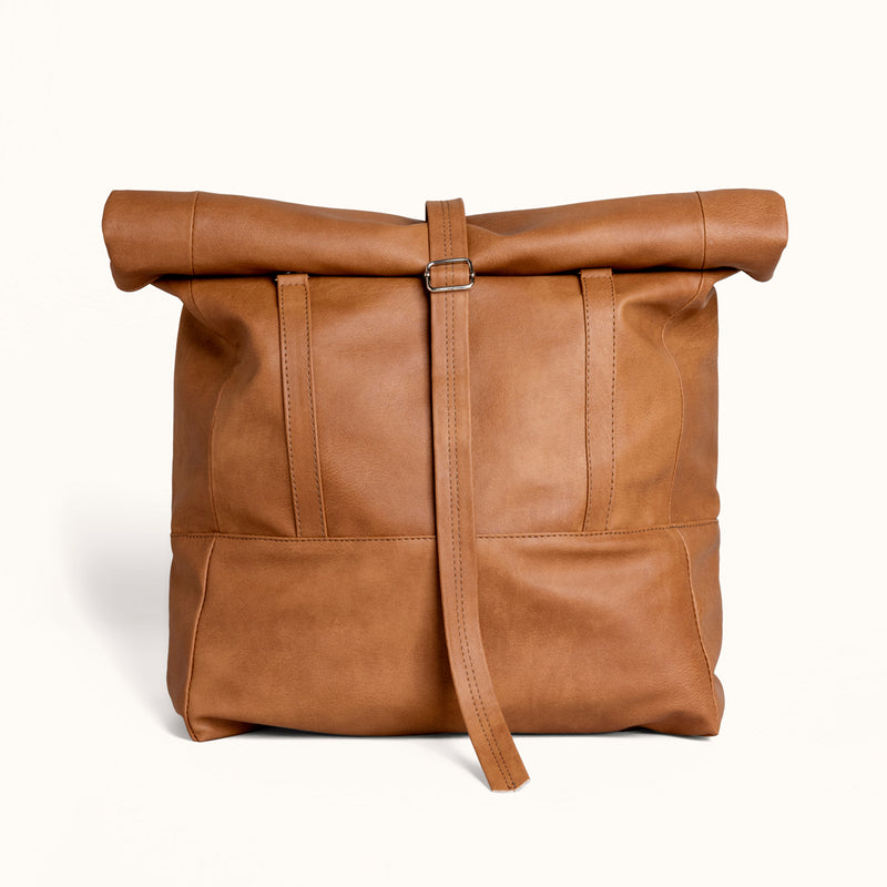 Lee Coren Camel Brown Wanderlust Rolltop Vegan Bag