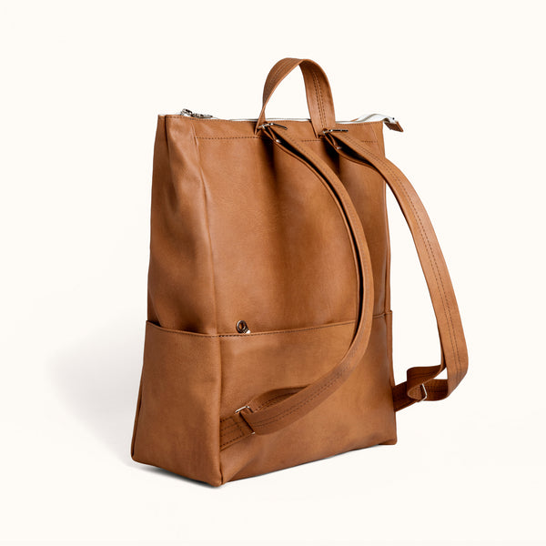 Women's Brown Vegan Faux Leather Backpack by Lee Coren