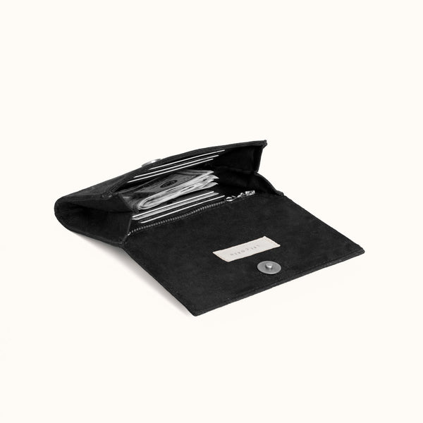 Minimal Wallet, Confetti Black on Black by Lee Coren | Vegan Suede Women's Wallet