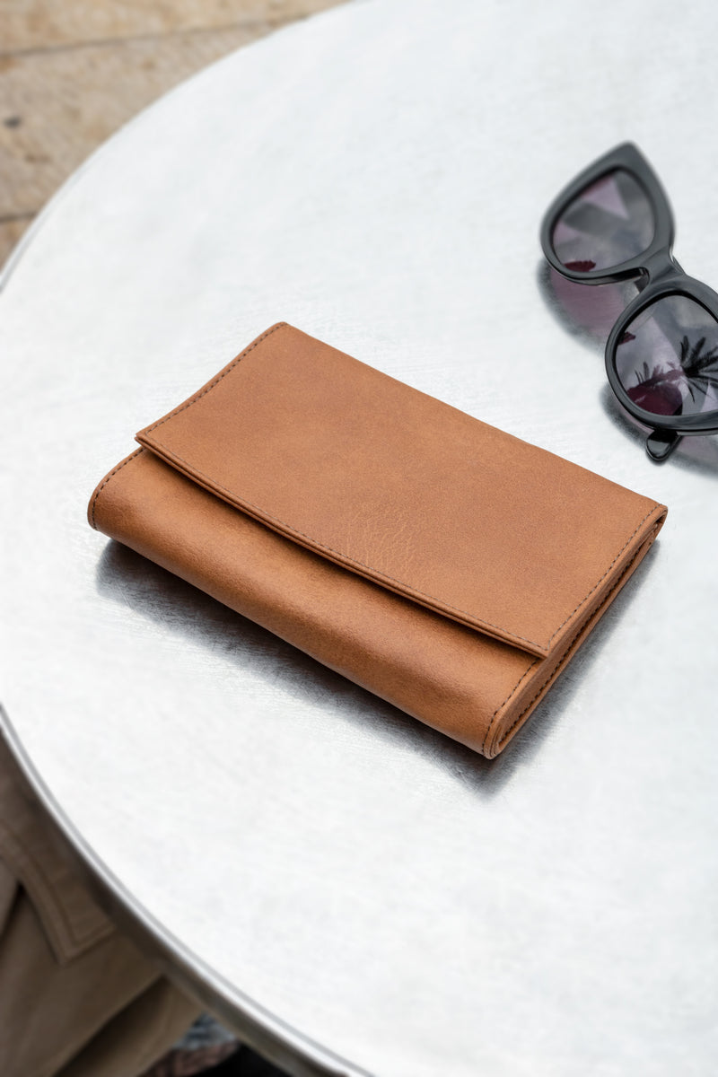 Lee Coren Camel Minimal Wallet | Vegan Leather Handmade Women's Wallet