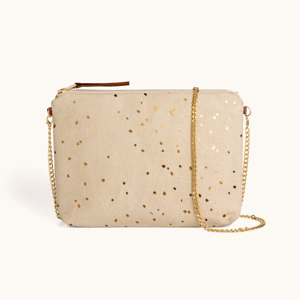 Lee Coren Confetti Sand Dulce Clutch & Chain Strap Bag