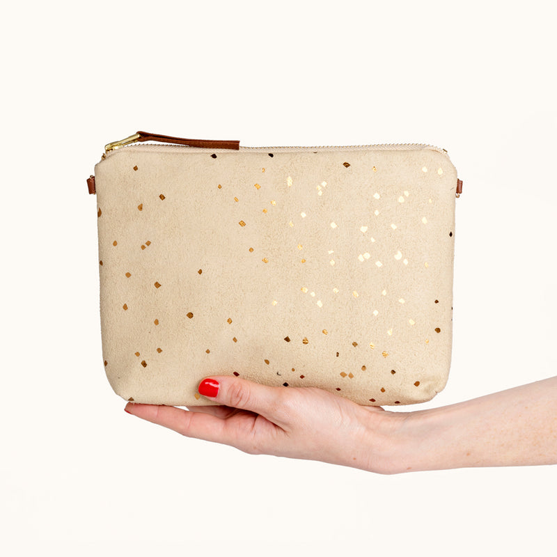 Small Chain Strap Clutch Purse, Vegan Suede Handbag For Women by Lee Coren