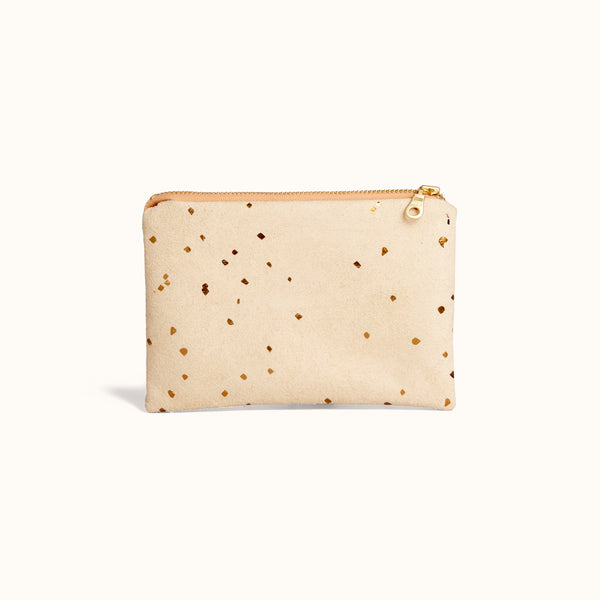 Metallic Vegan Suede Zip Pouch and Makeup Bag by Lee Coren