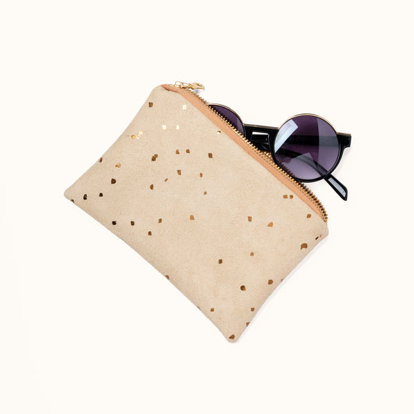 Portofino Pouch, Confetti Sand by Lee Coren | Vegan Suede Small Case