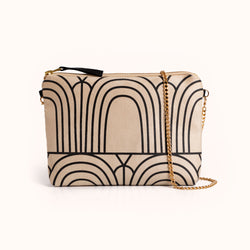 Lee Coren Dulce Clutch & Chain Strap, Arches Sand | Beige Vegan Suede Crossbody Bag