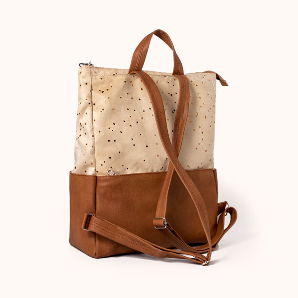Lee Coren Confetti Sand Metropolitan Backpack. Vegan Leather Backpack and Laptop Bag