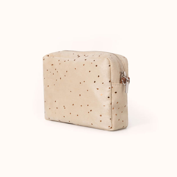 Vegan Leather and Faux Suede Women's Box Crossbody Bag by Lee Coren, Sand