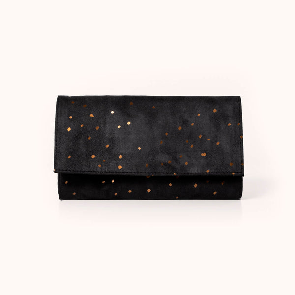 Lee Coren Large Minimal Wallet, Midnight | Vegan suede women's wallet
