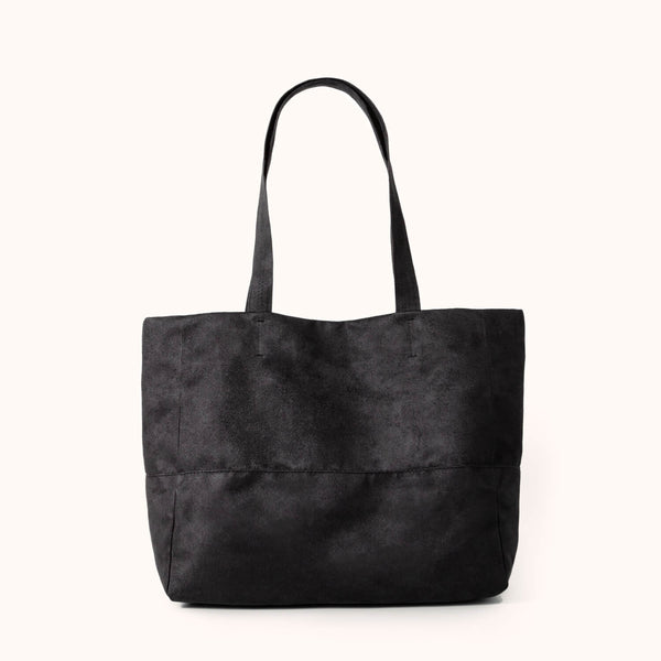 Vegan suede women's shoulder bag by Lee Coren | Charcoal Mezzo Tote Bag