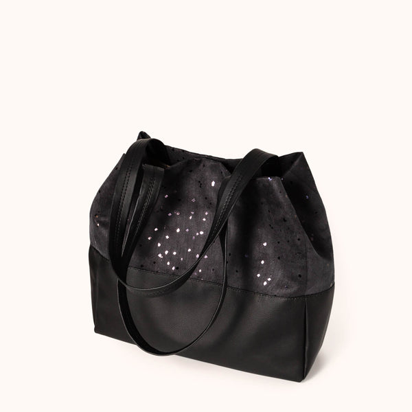 Vegan leather and faux suede women's shoulder bag by Lee Coren | Confetti BB Mezzo Tote Bag