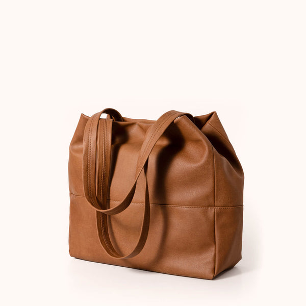 Vegan leather women's shoulder bag by Lee Coren | Camel Mezzo Tote Bag