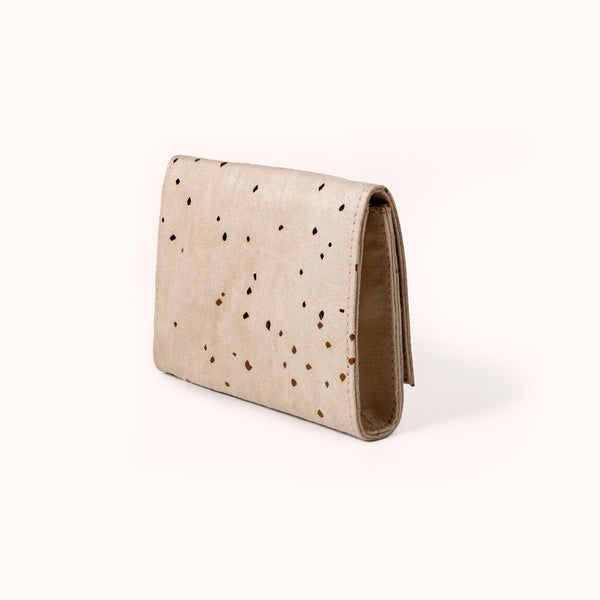 Beige Vegan Suede Wallet For Women by Lee Coren