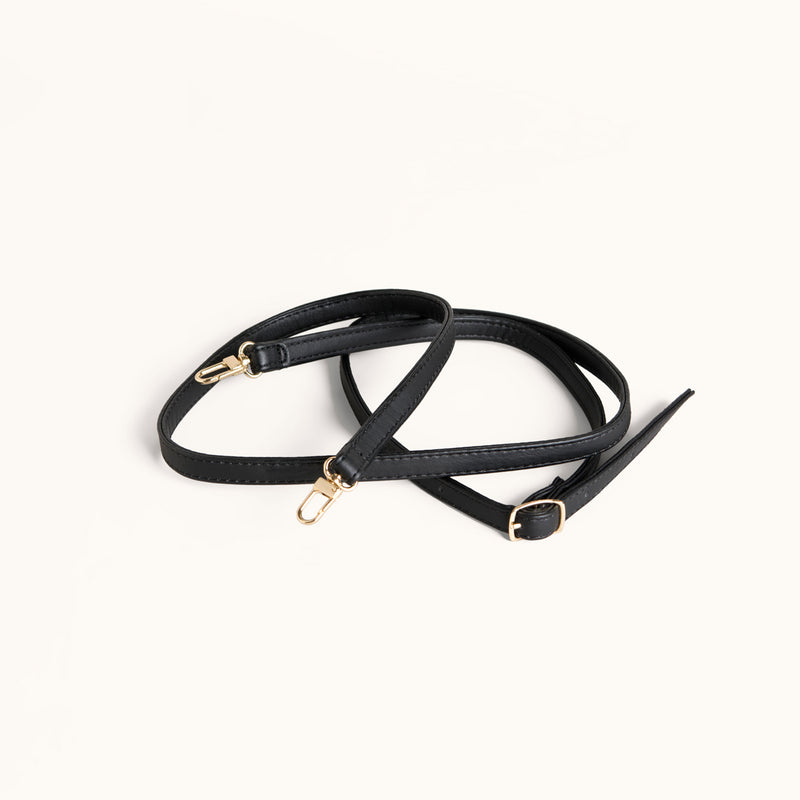 Detachable & Adjustable Black Vegan Leather Shoulder Strap