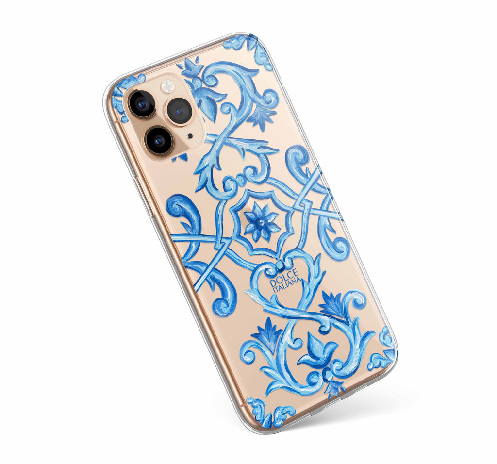 Dolce Italiana luxury iPhone case with Italian blue tile maiolica design