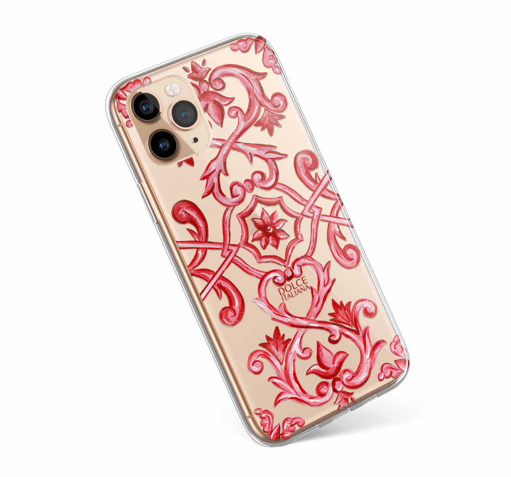 Dolce Italiana luxury iPhone case with Italian red tile maiolica design