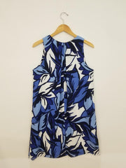 Sara Campbell Blue & White Floral Sleeveless A-Line Pockets Dress Size 12 Boston Consignment