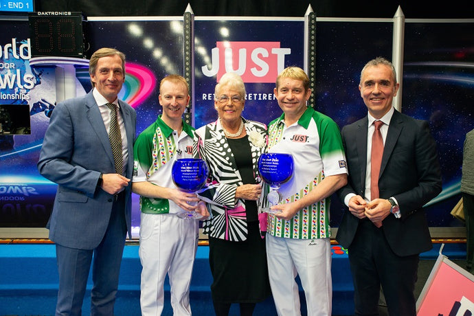 Greg and Nick win the Just 2020 World Indoor Bowls Open Pairs Final