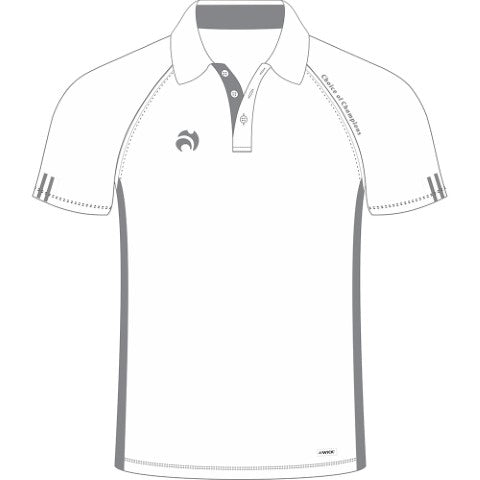 Choice of Champions Polo Mens White with Grey trim