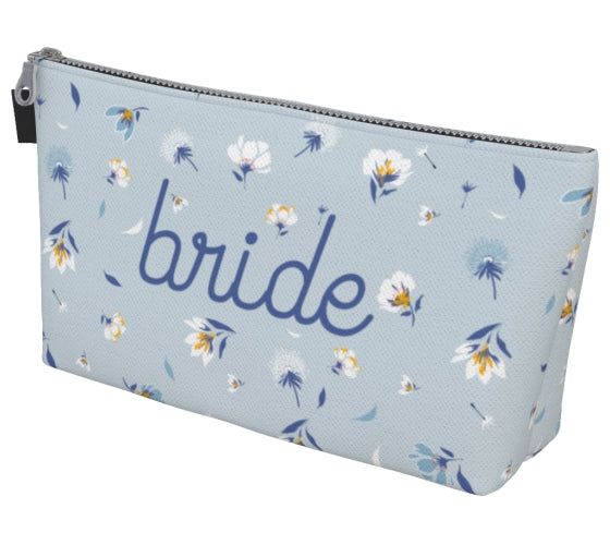 Bride Blue Floral Makeup Bag