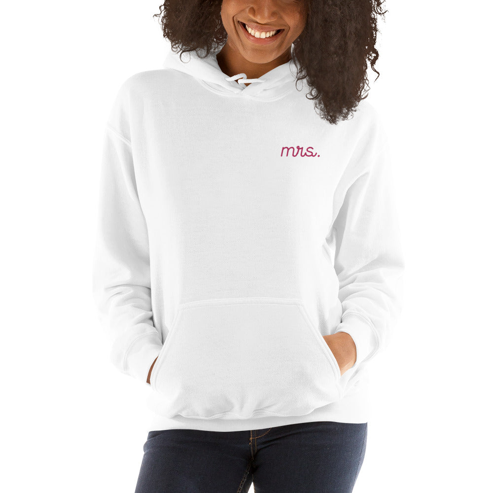 Mrs. Stitched White Hoodie