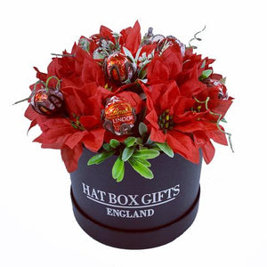Large Hat Box with Christmas Display of Lindt Lindor Chocolates & Red Silk Poinsettia Flowers