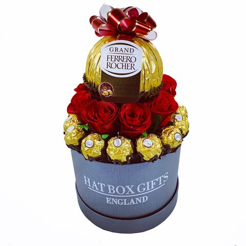 Luxury Medium Hat Box Gift with Stunning Ferrero Rocher Chocolates & Red Roses with a Grand Ferrero Centrepiece
