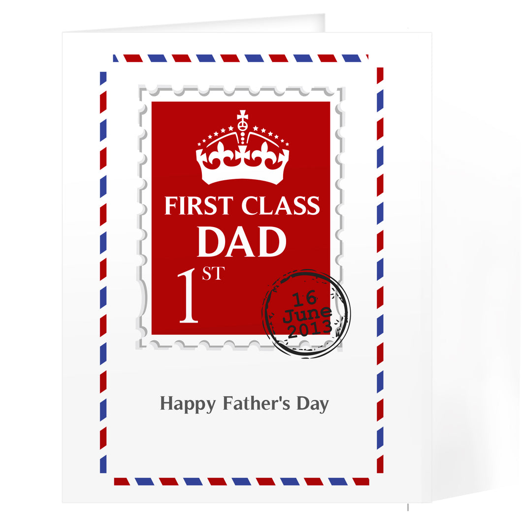 Personalised 1st Class Dad Card