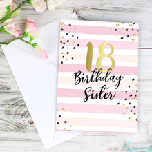 Load image into Gallery viewer, Personalised Gold and Pink Stripe Birthday Card