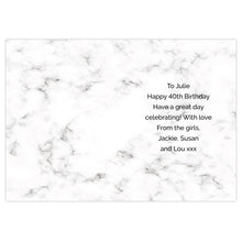 Load image into Gallery viewer, Personalised Marble and Rose Gold Birthday Card