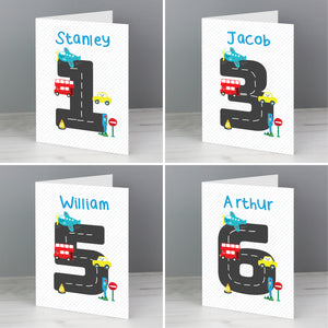 Personalised Vehicles Birthday Card