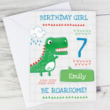 Load image into Gallery viewer, Personalised 'Be Roarsome' Dinosaur Card