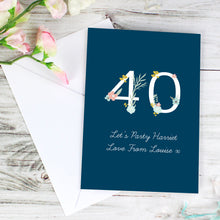 Load image into Gallery viewer, Personalised Floral Age Birthday Card
