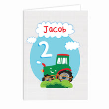 Load image into Gallery viewer, Personalised Tractor Birthday Card